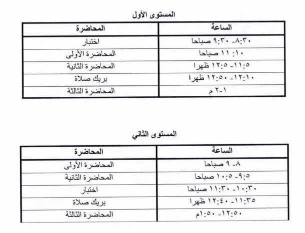 Najran University جدول المحاضرات أثناء فترة الاختبار النصفي أيام
